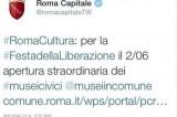 '2 giugno festa della Liberazione', gaffe su Twitter di Roma Capitale