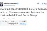 """Massimo Ferrero e il tweet sgrammaticato dedicato """"hai laziali"""""""