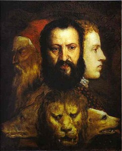 Allegoria della Prudenza. Dipinto a olio su tela da Tiziano (1565-70). National Gallery di Londra