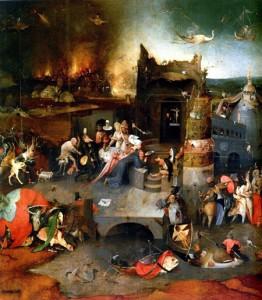 """Pannello centrale del trittico di Hieronymus Bosch """"Le tentazioni di Sant'Antonio"""", Museo Nacional de Arte Antigua di Lisbona"""