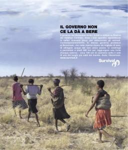 Particolare della campagna pubblicitaria mondiale di Survival in versione italiana. © Survival