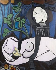 Nudo, foglie verdi e busto: sullo sfondo il profilo di Pablo Picasso