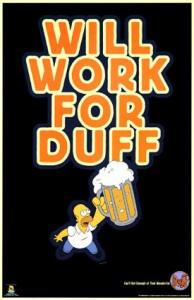 Homer Simpson con la sua immancabile birra Duff