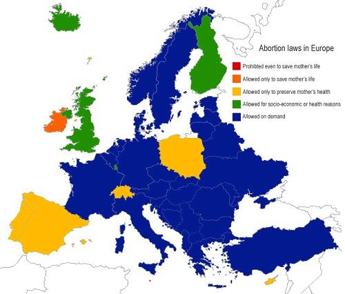 Situazione europea dell'aborto
