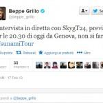 Grillo annuncia su Twitter di aver annullato l'intervista a Sky prevista per stasera