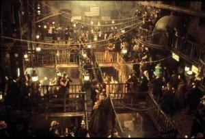Una scena di Gangs of New York, le cui scenografie sono state realizzate da Ferretti