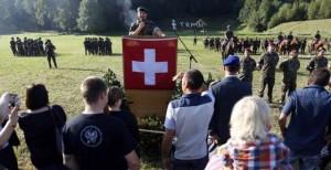 Una manifestazione delle famiglie dei soldati, nel Giorno della famiglia (Reuters)