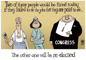 «Due di queste persone verranno licenziate oggi se falliranno nel lavoro per il quale sono pagati. L'altra sarà rieletta». Una vignetta contro l'incapacità del Congresso di approvare leggi per il bene generale