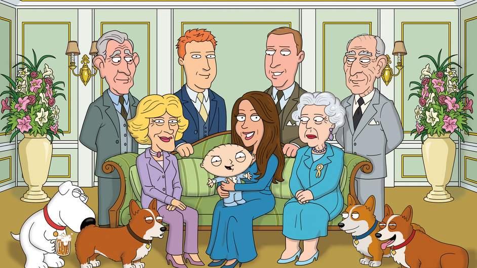 """L'immagine di famiglia in occasione del Royal Baby, """"modificata"""" in stile Griffin (Copyright: Fox Broadcasting Company)"""