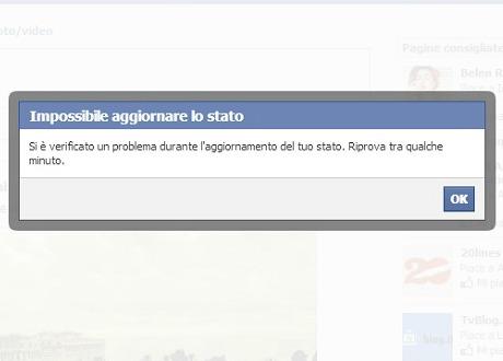 Facebook è down: ecco una segnalazione d'errore (giornalettismo.com)