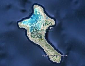 L'atollo principale di Kiribati, dov'è la capitale Tanawa