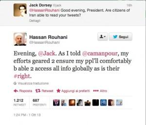 """Lo """"scambio"""" tra Jack Dorsey, fondatore di Twitter, e il presidente iraniano Hassan Rohani"""