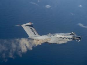 L'Airbus 400m, aereo a esclusiva dotazione militare, impiegato nei test di rilevamento delle ceneri vulcaniche