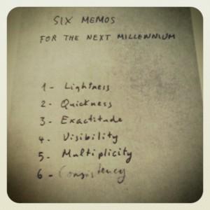 L'autografo dei sei punti delle 'Lezioni americane' sviluppati da Calvino (www.virginiafiume.com)