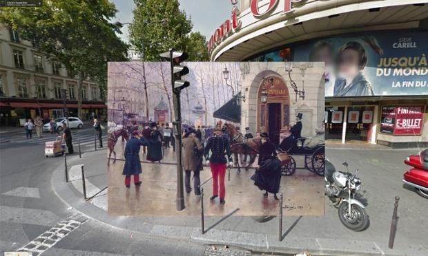 Dipinti d 39 epoca e foto di google street le opere di - Bureau de change boulevard des capucines ...