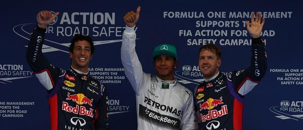 Hamilton, Ricciardo e Vettel (foto motorionline.com)