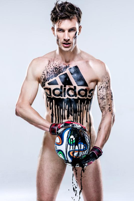 Body Painting shows Adidas' Products Pollute 2014 World Cup.
