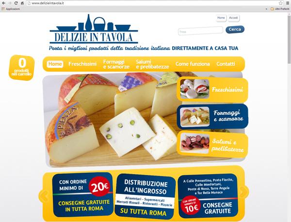 """Home page del portale """"Delizie in tavola"""""""