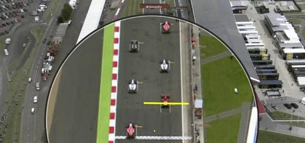 L'errore di Alonso nella prima partenza. L'asticella gialla marchia dove la F14T doveva avere la fine del muso