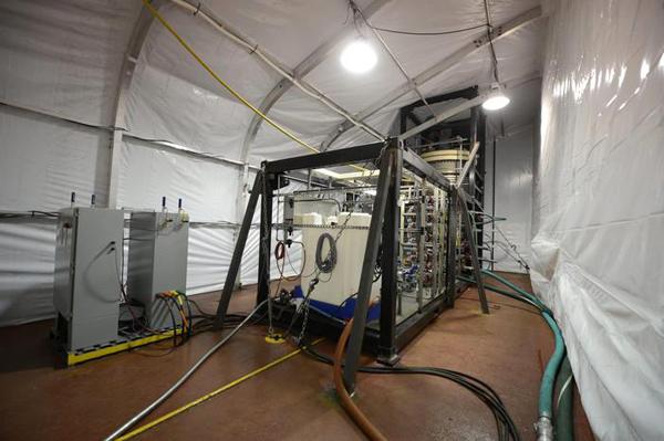 Uno dei container contenenti i gas radioattivi