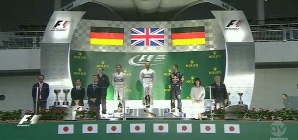 La gara è stata vinta da Hamilton. Sul podio anche Rosberg e Vettel