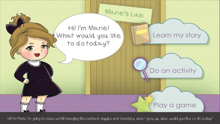 La app abbinata alla bambola di Marie Curie