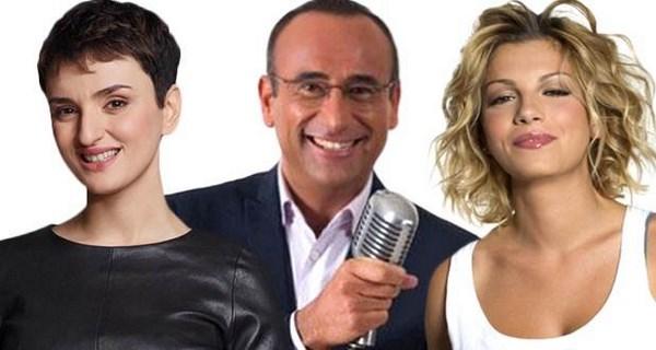 Arisa, Carlo Conti e Emma Marrone sono i conduttori del Festival di Sanremo 2015 (fonte: allsongs.tv)