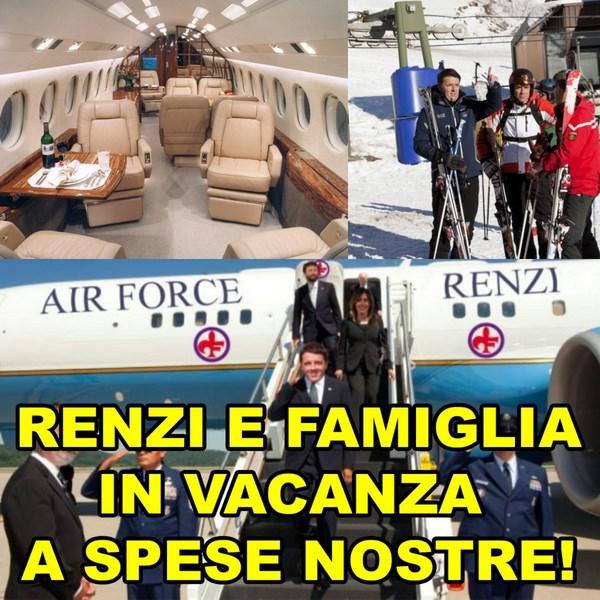 Matteo Renzi in vacanza con volo di stato. L'accusa del M5S (fonte: paoloromano.net)
