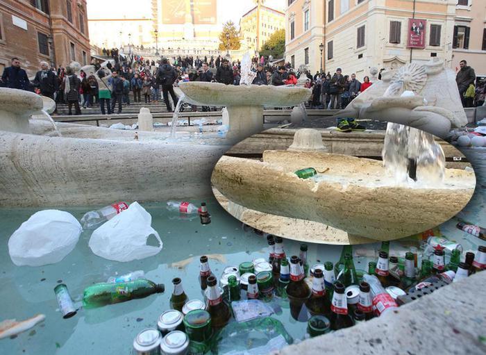 La barcaccia devastata a Roma dai tifosi del Feyenoord (Fonte foto: www.uritaxi.it)