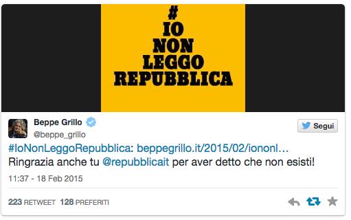 Beppe Grillo tweet #iononleggorepubblica