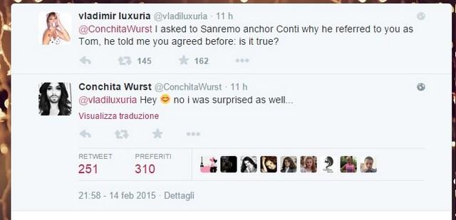 Vladimir Luxuria e Conchita Wurst su Twitter