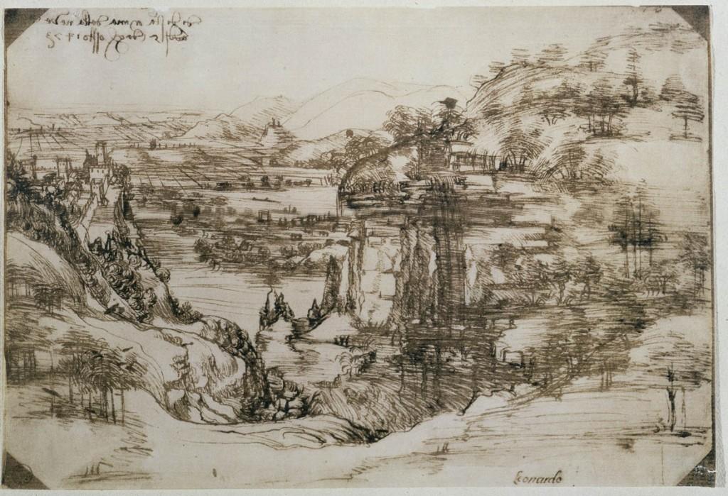 Paesaggio con fiume (5 agosto 1473). Penna e inchiostro ferrogallico di due diverse tonalità su carta, 196 ✕ 287 mm Firenze, Gabinetto Disegni e Stampe degli Uffizi