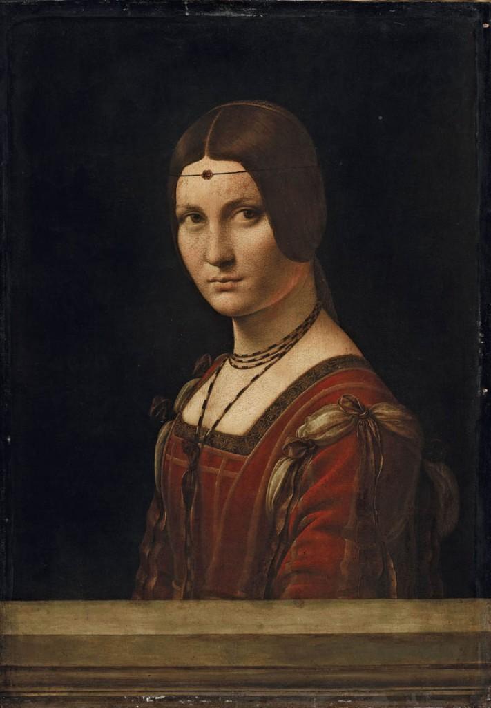 """Ritratto di dama (La Belle Ferronnière o """"Presunto ritratto di Lucrezia Crivelli""""), (1493-1495 circa). Olio su tavola di noce, 63 ✕ 45 cm Parigi, Musée du Louvre, Départementdes Peintures, Collezione dell'Imperatore Francesco I"""