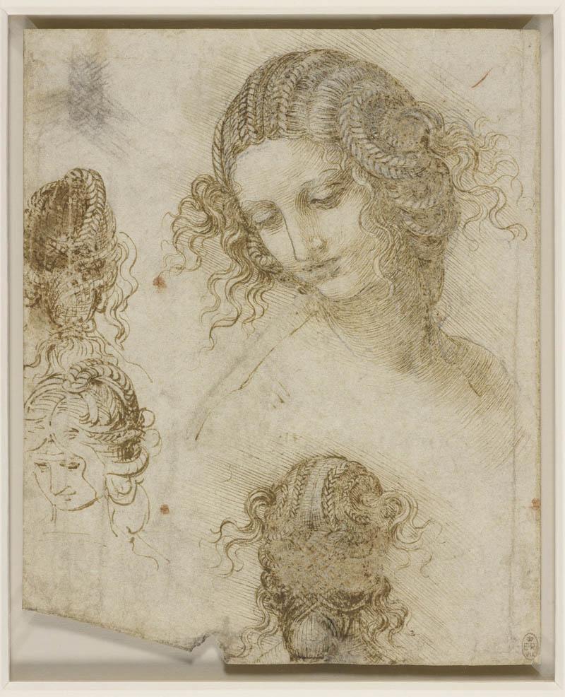 Studi di testa femminile (1505-1507) matita nera, penna e inchiostro sucarta, 198 ✕ 166 mm The Royal Collection / HM Queen Elizabeth II