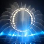 La grande O di Yeosu 2012, centro dell'esposizione di giorno e di notte sede di diversi spettacoli con luce, acqua e fuoco