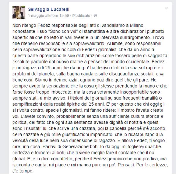 Le dichiarazioni di Selvaggia Lucarelli