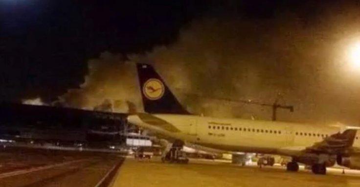 L'incendio di stanotte all'aeroporto di Fiumicino (www.timesofmalta.com)