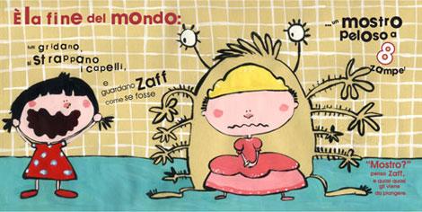 """Alcune illustrazioni dell'albo """"Nei panni di Zaff"""" (www.iltrabiccolodeisogni.it)"""