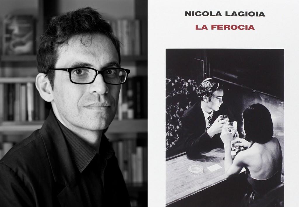 Nicola Lagioia e la copertina del suo ultimo romanzo, La ferocia (www.cinemavittoria.com)
