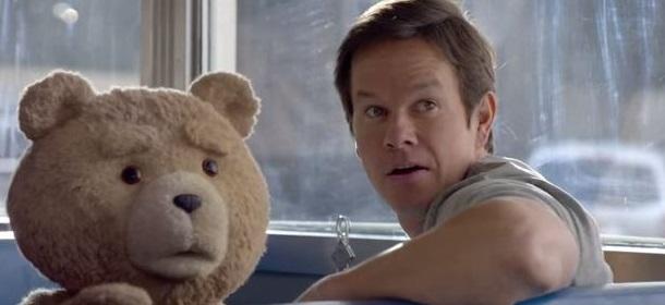 Ted (Seth MacFarlane) e John (Mark Wahlberg) in una scena del film