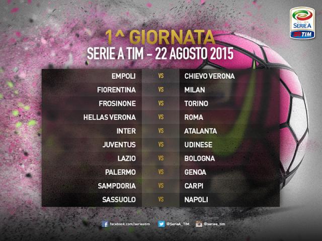 Il tabellone della prima giornata di Serie A 2015 - 2016