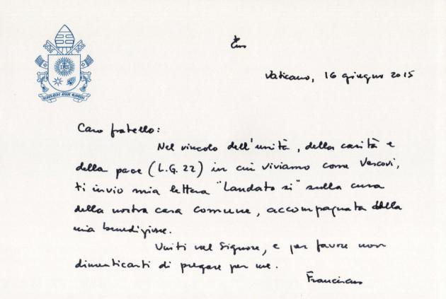 La lettera di accomoagnamento per i vescovi della Laudato si' (saltandlighttv.org)