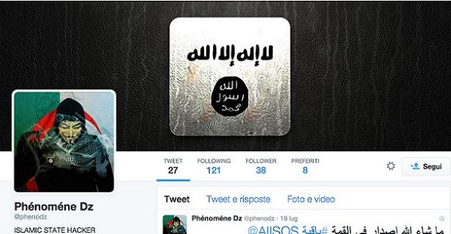 Il profilo twitter di Phenomen DZ, l'hacer islamista responsabile dell'oscuramento dle sito dell'Accademia della Crusca (firenzetoday.it)