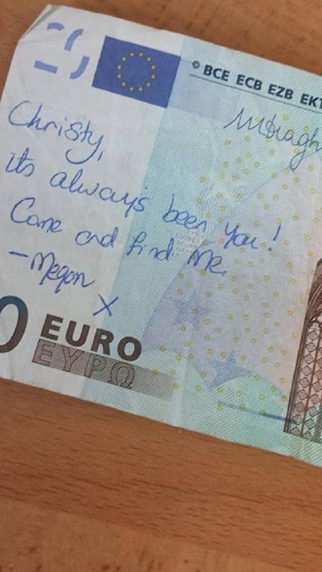 Il messaggio sulla banconota da 20 euro (facebook.com)