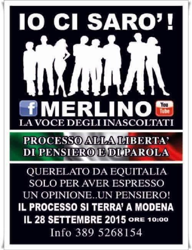 La chiamata in solidarietà nei confronti di Merlino in vista del processo di Modena (facebook.com)