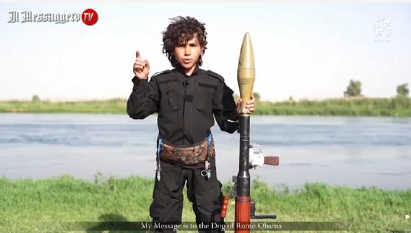Bambino dell'Isis minaccia Barack Obama