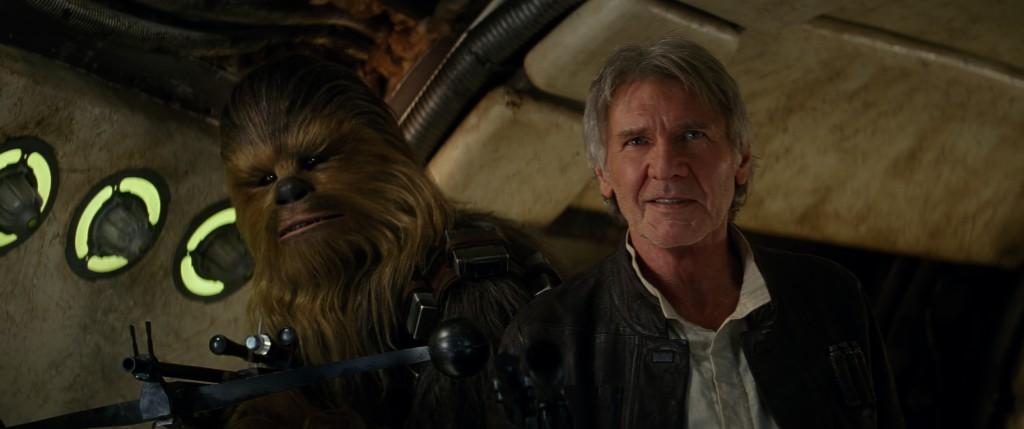 Han Solo (Harrison Ford) e Chewbacca (Peter Mayhew)