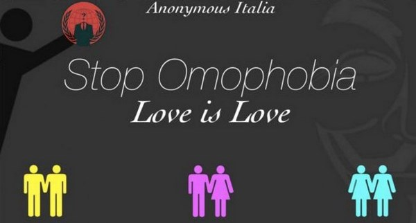 'Stop Omophobia. Love is Love', lo slogan di Anonymous (fonte: repstatic.it)
