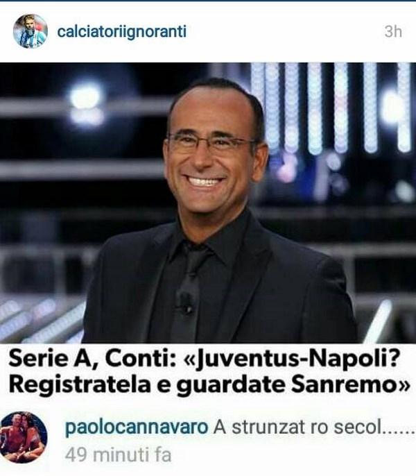 Il commento di Paolo Cannavaro sulla proposta di Carlo Conti (fonte: instagram.com/calciatoriignoranti)