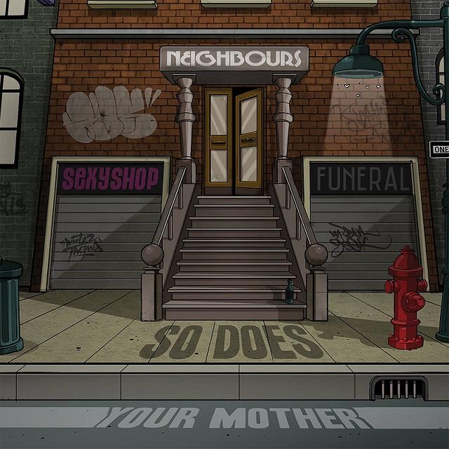 """La copertina di """"Neighbours"""", l'album d'esordio dei So Does Your Mother, ad opera di Mr. Thoms"""